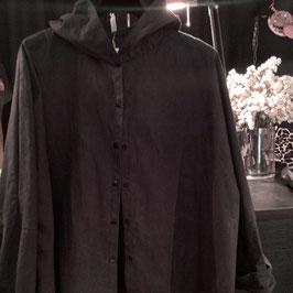Chemise à Capuche Coton Noir avec Poche