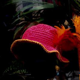 Cloche Coton Rose Shocking & Plumes