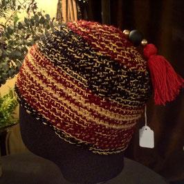 Bonnet Orient Pompon rouge & Perles