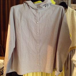 Chemise à Capuche Coton Gris Bleu