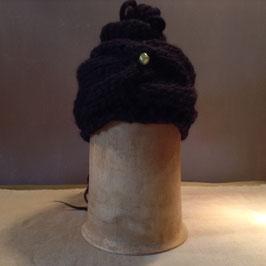 Turban  Laine noire Perle & Plumes