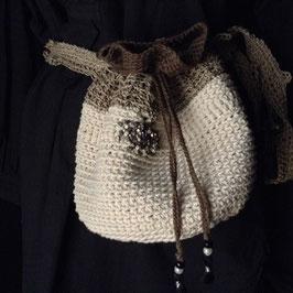 Mini sac Ecru Brodé Taille & Bandoulière
