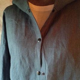 Chemise à Capuche Lin Bleu Océan