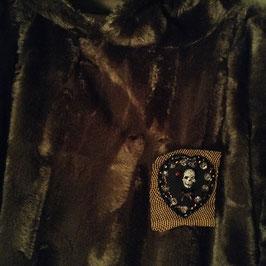 Badge Coeur Tête de mort Diamants