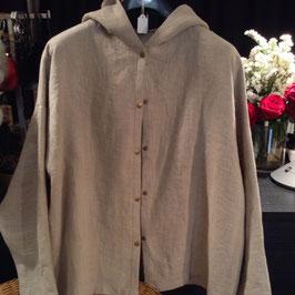 Chemise à Capuche en Lin Beige mastic