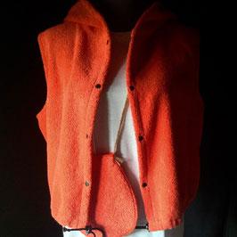 Gilet à Capuche éponge Orange avec poche