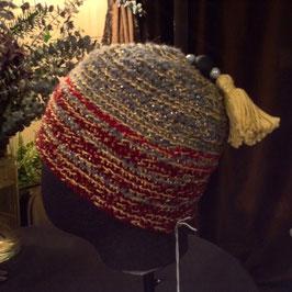Bonnet Orient Pompon jaune & Perles