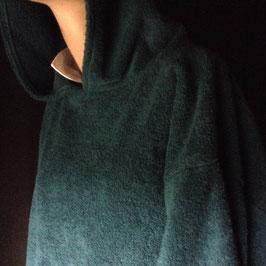 Sweat à Capuche Tissu Eponge Bleu Canard