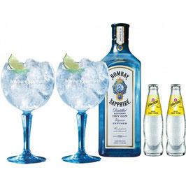 Bombay Gin (1,0 liter, 40%)  Tonic Sæt med Glas