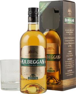 Kilbeggan Irish Whisky med Glas 0,7l 40%