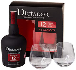 DICTADOR 12 YO RUM + GLASSES 0,70L (40% VOL.)