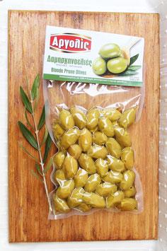 Damaskinoelies griechische grüne Pflaumen-Oliven aus der Region Argolis, 500g