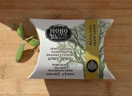 Handgefertigte griechische Olivenölseife mit Olivenblättern vom Berg Athos (Kloster Monoxilitis), 110g