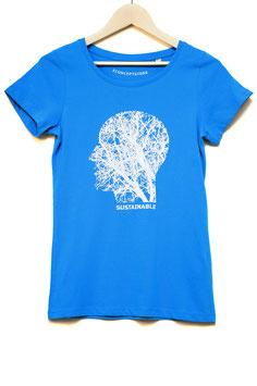 "T SHIRT  ""SOUSTAINABLE""  WOMAN   azur"