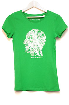 "T SHIRT  ""SOSTAINABLE""  WOMAN   fresh green"
