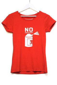 """T SHIRT """"NO PESTICIDES""""   red"""