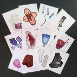 """Bilderkarten im Set """"Menstruationsartikel mit und ohne Blut"""""""