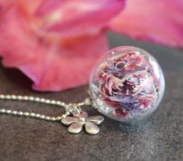 Glaskugelkette Kornblume rosa/lila