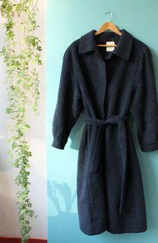 Blauwe wollen jas met ceintuur