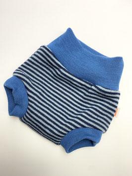 Woll-Shorty Schurwolle - blaue Ringel