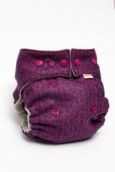Wollwindel Schurwolle - Fischgrät Pink (Newborn)
