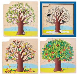 Wachstumspuzzle, vier Lagen Jahreszeitenbaum