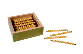 Kasten mit 45 goldenen Zehnerstangen - Lose Perlen (Kunststoff)