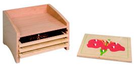 Kasten mit vier Fächern für die Botanischen Puzzles