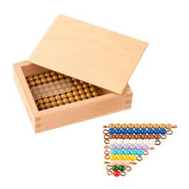 Kasten mit farbiger Perlentreppe und Zehnerstäbchen - Lose Perlen (1 Satz - Kunststoff)