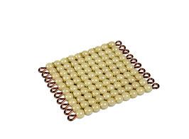 Goldquadrat, 10 x 10 goldene Perlen - Lose Perlen (Glas)