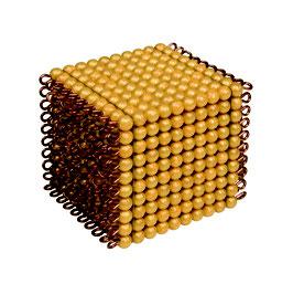 Goldkubus, 10 x 10 x 10 goldene Perlen - Lose Perlen (Kunststoff)