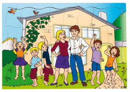 Puzzleserie Moderne Familie, Familie und ihr neues Zuhause