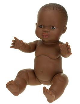 """Babypuppe Mädchen """"Afrikanisch"""" aus Vinyl, ohne Haare 30 cm"""