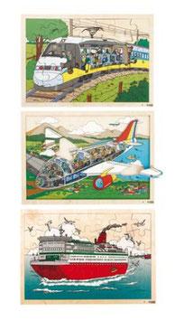 Einblickpuzzle Auf Reisen SET von Flugzeug, Zug, Fähre