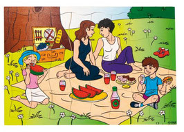 Puzzleserie Moderne Familie, Familie beim Picknick