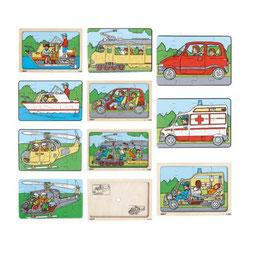 Puzzleserie Fahrzeuge SET Innen- und Außenansicht des Fahrzeugs.