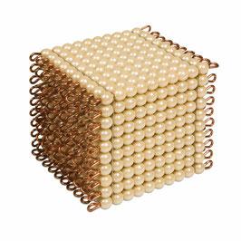 Goldkubus, 10 x 10 x 10 goldene Perlen - Lose Perlen (Glas)