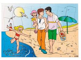 Puzzleserie Moderne Familie, Familie auf dem Strand