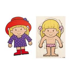 Ankleidepuzzle Mädchen, Holzpuzzle mit zwei Lagen.