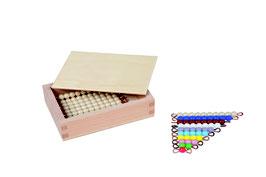 Kasten mit farbiger Perlentreppe und Zehnerstäbchen - Lose Perlen (1 Satz - Glas)