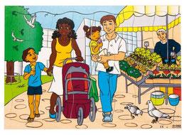 Puzzleserie Moderne Familie, Familie auf dem Markt