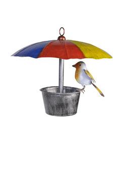 Vogelhaus Schirm mit Rotkehlchen rund