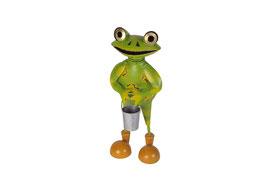 Frosch mit Eimer stehend