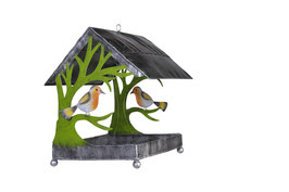 Vogelhaus mit Rotkehlchen