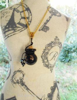 Collier d'aromathérapie ou à parfum, fiole verre filé noir et or sur chaine dorée