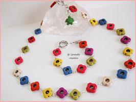 Parure JARDIN EN FLEUR, style pop année 60 perles fleurs en pierre teintée