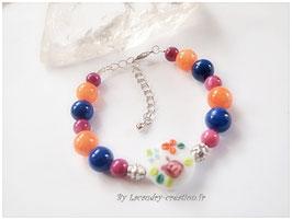 Bracelet  TUTTI FRUTTI orange,pierre fine, bleu cobalt et violet foncé
