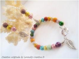 Parure romantique pastel, feuilles , perles miracle et  pierre de lave