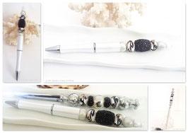 Parure papeterie, stylo blanc nacré et coupe papier acier, perle blanche, noir et or, cadeau femme, anniversaire, mariage
