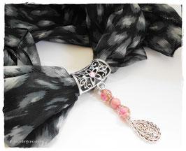 Bijou de foulard rose, bijou attache foulard, attache foulards arabesque, bijou romantique, attache pour foulards femme